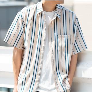 【新品】YARD PLUS マルチストライプ オーバーサイズ シャツ ベージュ(シャツ)