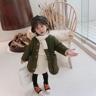 カーキ90◆新品韓国子供服上着アウターキルトジャケットコートミリタリー女の子