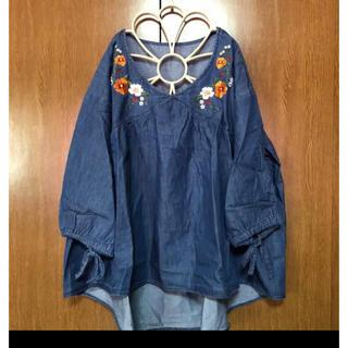 デニム刺繍バルーン袖ブラウス3Lサイズ(シャツ/ブラウス(半袖/袖なし))