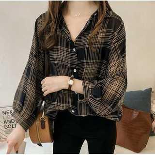 XL/ブラック長袖シャツ ブラウス チェック柄シャツ ボリューム袖 チェック柄
