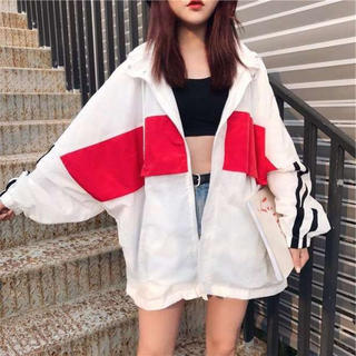 ⭐️即購入歓迎⭐️大きめサイズ ホワイトライン ナイロンパーカー 韓国