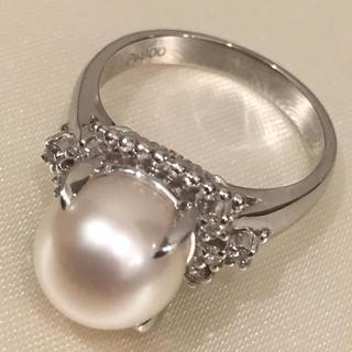 専用【超美珠】9mm超 プラチナ ダイヤ付 真珠 リング 19i-110(リング(指輪))