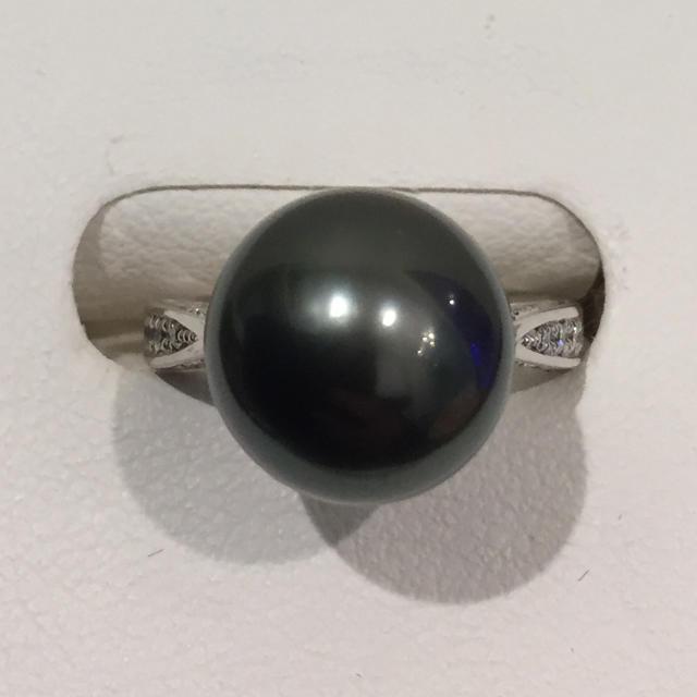 【超美品】黒蝶真珠 ダイヤ付き プラチナ リング 19i-86 レディースのアクセサリー(リング(指輪))の商品写真