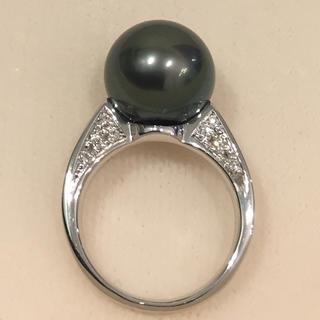 【超美品】黒蝶真珠 ダイヤ付き プラチナ リング 19i-86(リング(指輪))