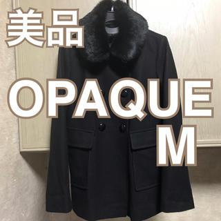 オペーク(OPAQUE)のOPAQUE コート 黒 ファー付き ラビット 9号 ダブル(毛皮/ファーコート)