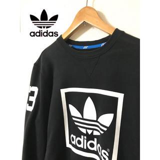 adidas - 【アディダス トレフォイルビッグロゴ スウェット】 アディダス ビッグロゴ 黒