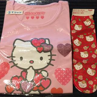 ハローキティ(ハローキティ)のプリントソックスのおまけ付き‼︎       サンリオ キティ Tシャツ(Tシャツ(半袖/袖なし))