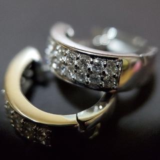 K18WG 天然ダイヤモンド フープピアス/0.5ct