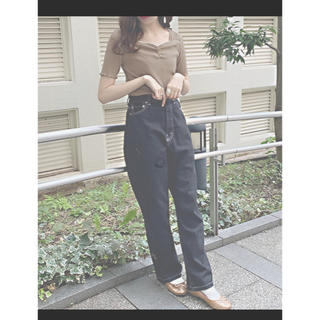 one after another NICE CLAUP - ハートネックリブTシャツ