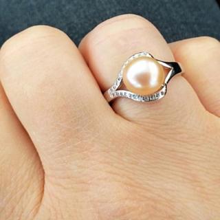 【1点限】淡いオレンジ系 淡水真珠 パール リング(リング(指輪))
