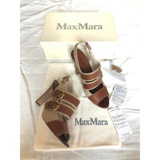 マックスマーラ(Max Mara)の定価10万 MAXMARA キャンバス生地×本革ストラップ付サンダル 美品(サンダル)