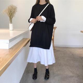 ☆ 即発送☆袖・裾シャツ トレーナーワンピース   (ひざ丈ワンピース)