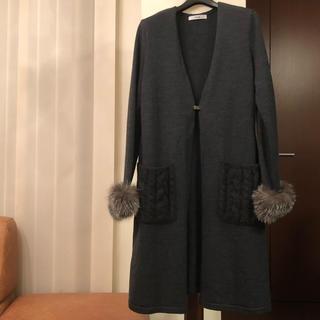 ルネ(René)の2018AWルネ大人気完売フォックスファー袖ロングカーデガン36ダークグレー(カーディガン)