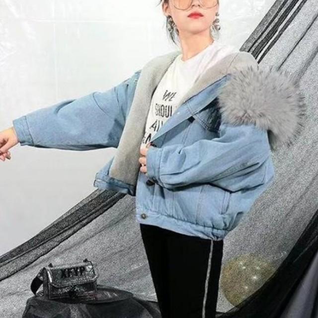 ZARA(ザラ)の【3color】ファー デニムジャケット レディースのジャケット/アウター(Gジャン/デニムジャケット)の商品写真
