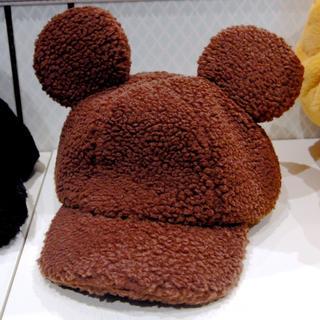 Disney - ミッキー 耳 ふわもこ キャップ ブラウン ふわふわ