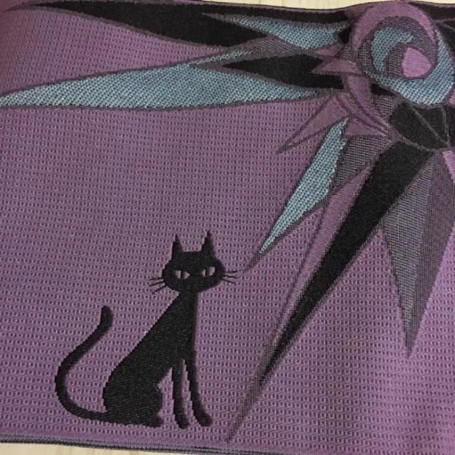 浴衣帯 紫No.431【新品】浴衣 着物 帯 長尺 小袋帯 紫 半幅帯 猫柄 レディースの水着/浴衣(着物)の商品写真