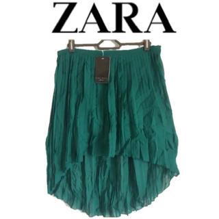 ザラ(ZARA)のZARA BASIC ザラ ベーシック スカート 【グリーン】 サイズL(ひざ丈スカート)