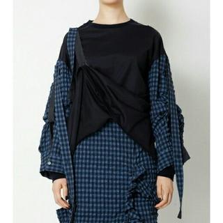 ルシェルブルー(LE CIEL BLEU)のIRENE  Gingham Sleeve Tee 💫ネイビー 新品未使用(Tシャツ(長袖/七分))