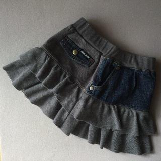コムサイズム(COMME CA ISM)の80サイズ*異素材レイヤードデニムのスカート コムサデイズム(スカート)