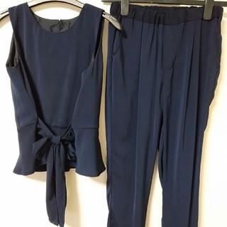 セットアップ 上下 ノースリーブ パンツスーツ M 紺 結婚式 サマー(スーツ)