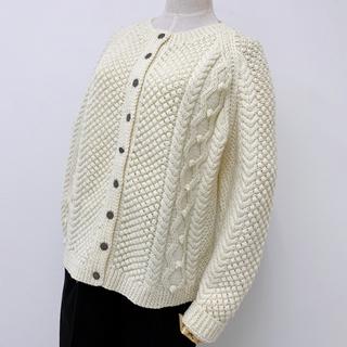 手編み フィッシャーマン カーディガン セーター アランニット ヴィンテージ(ニット/セーター)