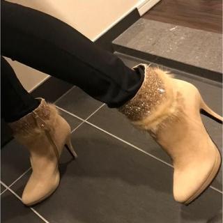 インポート 新品 ビジュー ファー ショート ブーツ ベージュ(ブーツ)