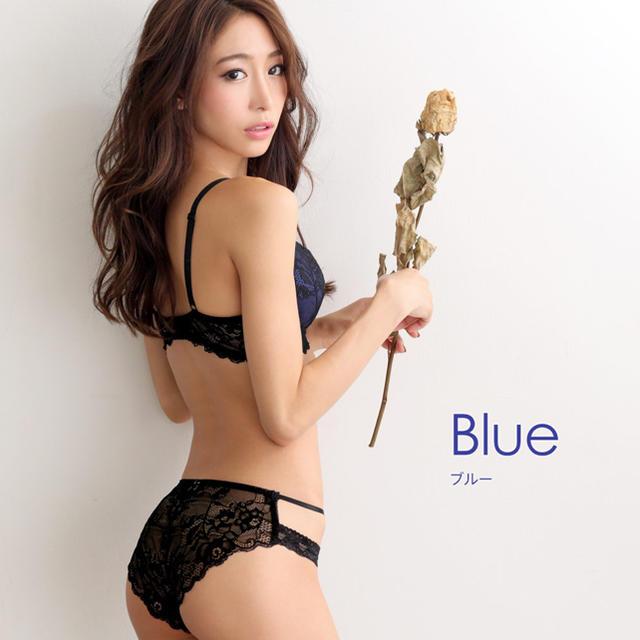 aimer feel(エメフィール)のエメフィール セクシーレース ブラとショーツセット B65 新品未使用品 青 レディースの下着/アンダーウェア(ブラ&ショーツセット)の商品写真