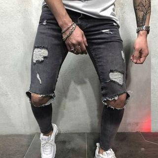 サイズが選べる ダメージデニム グレー 灰色 ブラック 黒 パンツ ニーホール