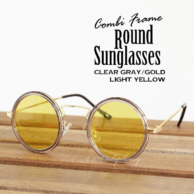 華やかコンビフレームUVラウンド サングラス クリアフレーム グレー金 イエロー メンズのファッション小物(サングラス/メガネ)の商品写真