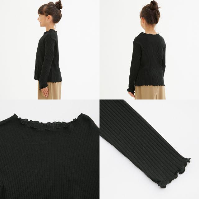 GU(ジーユー)の◆GIRLSリブT(長袖) GU ジーユー 黒 キッズ/ベビー/マタニティのキッズ服 女の子用(90cm~)(Tシャツ/カットソー)の商品写真