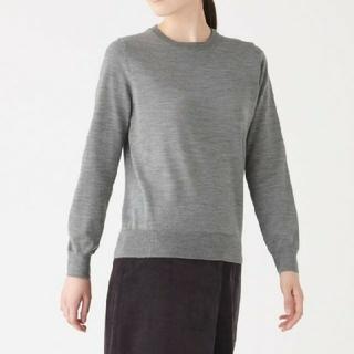 MUJI (無印良品) - 《新品》 無印良品ウールシルク洗えるクルーネックセーター/グレー/M