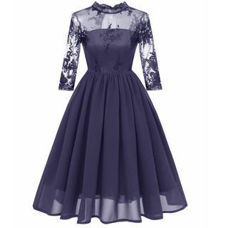 グレースコンチネンタル(GRACE CONTINENTAL)のドレス 結婚式 パーティ ネイビー(ひざ丈ワンピース)