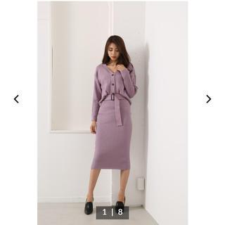 リエンダ(rienda)のrienda Front carde in Knit OP(ひざ丈ワンピース)