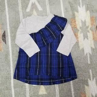 petit main - 美品★petit mainドッキングトップス100 ブルー