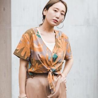 Kastane - Kastane 前結び柄シアーシャツ
