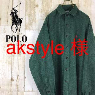 POLO RALPH LAUREN - ラルフローレン 長袖シャツ ワンポイント 刺繍ロゴ  ウール混  グリーン