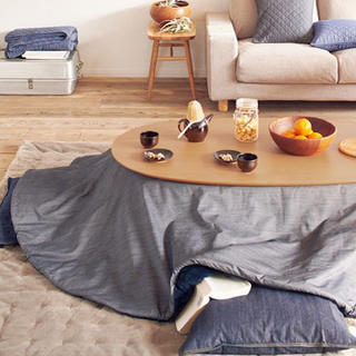 MUJI (無印良品) - デニムこたつ布団 楕円形