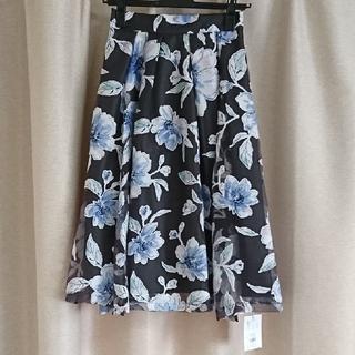 マーキュリーデュオ(MERCURYDUO)のブラック 花柄 フレアスカート(ひざ丈スカート)