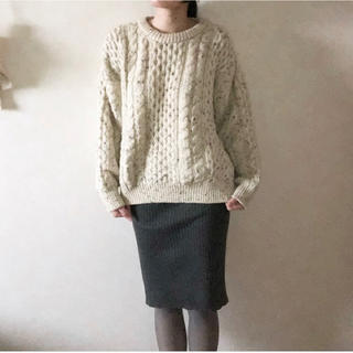 カスタネ(Kastane)の【美品】着用らくらく♪ グレーのリブニットタイトスカート(ひざ丈スカート)
