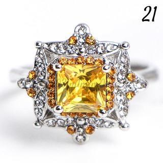 Y22 リング 21号 人工石 イエロートパーズ 大きいサイズ レディース(リング(指輪))