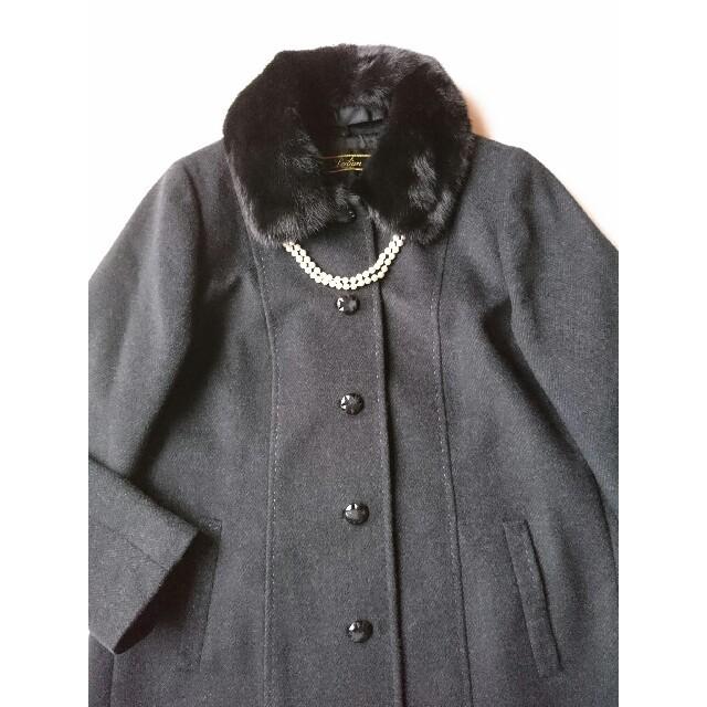 leilian(レリアン)の【極美品】レリアン 価格32万高級カシミヤ100%ミンクファーコート*フェラガモ レディースのジャケット/アウター(ロングコート)の商品写真