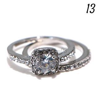 W27 リング 13号 2連 人工石 ホワイトサファイア ラウンド(リング(指輪))