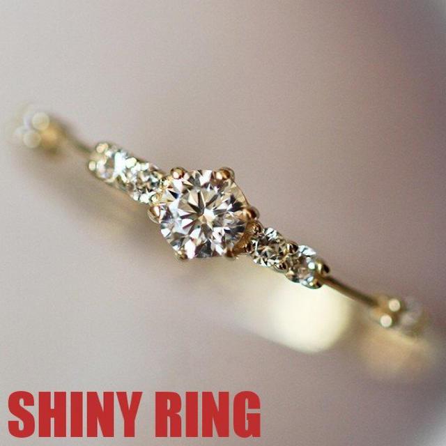 リング 指輪 スワロフスキー 華奢 ピンキー K18金RGP 金属アレルギー対応 レディースのアクセサリー(リング(指輪))の商品写真