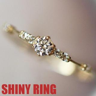 リング 指輪 スワロフスキー 華奢 ピンキー K18金RGP 金属アレルギー対応(リング(指輪))