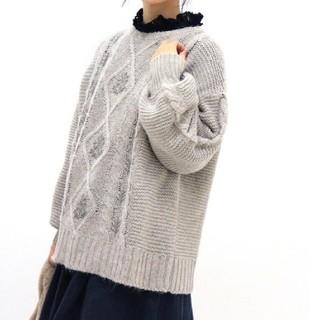 SM2 - サマンサモスモス  麻混アラン柄刺繍プルオーバー   新品 タグ付き