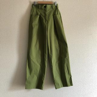 黄緑 セミフレア  スラックパンツ