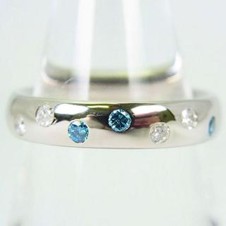 PT900 ブルーダイヤモンド リング 10号[f74-2](リング(指輪))