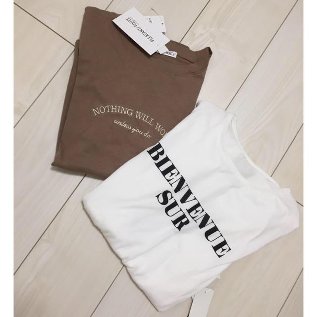 one after another NICE CLAUP(ワンアフターアナザーナイスクラップ)の新品 ロゴ Tシャツ トップス ブラウン 白 ホワイト 英字 レディース M レディースのトップス(Tシャツ(半袖/袖なし))の商品写真