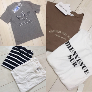 one after another NICE CLAUP - 新品 ロゴ Tシャツ トップス ブラウン 白 ホワイト 英字 レディース M