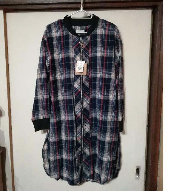 しまむら(シマムラ)のしまむら チェックロングシャツブルゾン レディースのトップス(シャツ/ブラウス(長袖/七分))の商品写真